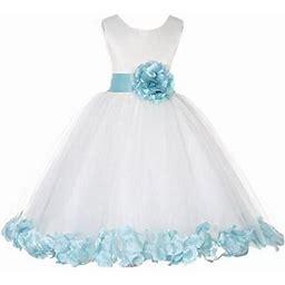 Ekidsbridal Ivory Tulle Rose Petals Formal Flower Girl Dresses Toddler Girl Dresses Pageant Dresses Wedding Tulle Dresses Birthday Girl Dress Special