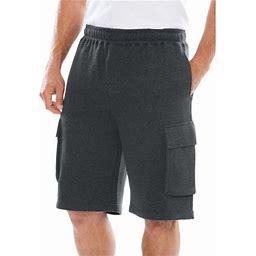 Kingsize Men's Big & Tall Fleece 10 Inch Cargo Shorts, Size: Tall - 6XL, Gray