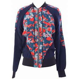Rebecca Minkoff Women's Graphic Silk Zip Up Nolan Jacket, Size: Small, Mars