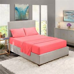 Full Size Bed Sheets Set Coral Pink, Luxury Bedding Sheets Set, 4-Piece Bed Set, Deep Pockets Fitted Sheet, 100% Soft Microfiber, Hypoallergenic, Cool