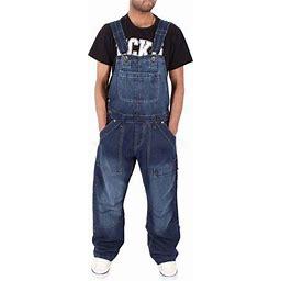 Lovaru Men's Full Length Denim Overalls Jumpsuit, Size: 2XL, Blue