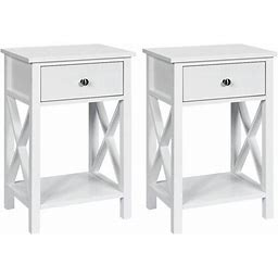 Costway 2Pcs Nightstand Chair Side End Table With Drawer & Shelf Bedroom Furniture White, Size: Small