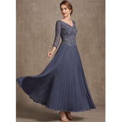 Jjshouse A-Line V-Neck Ankle-Length Chiffon Lace Mother Of The Bride Dress