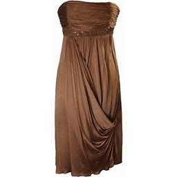 Laundry By Shelli Segal Womens Brown Beaded Ruched Cocktail Dress 12, Women's
