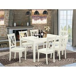 Wayfair Krieger 7 Piece Solid Wood Dining Set Wood In White, Size 29.0 H X 36.0 W X 60.0 D In