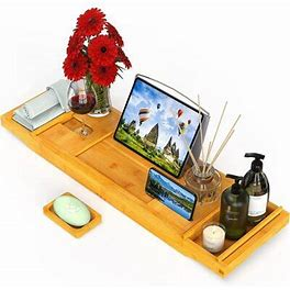 Rebrilliant Bamboo Bathtub Caddy Expandable Tub Tray Bath Table Organizer W/ Book Stand Tablet Holder Wine Glass Slot In White | Wayfair