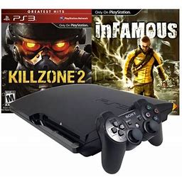 Refurbished Playstation 3 PS3 Slim 120Gb With Killzone 2 And Infamous Games