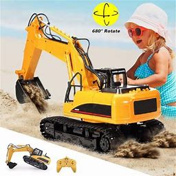 1/14 Remote Control Tractor Excavator Construction Toy With Movable Claw, Charging Tractor Vehicle Digger Trucks Car Toy For Boys And Girls , 15