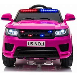 Tobbi 12V Kid Ride On Police Car Battery Powered Electric SUV Truck Vehicles W/2.4G Remote Control, Flashing LED Light, Siren, Bluetooth, Rose Red,