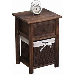 Night Stand 2 Tiers/ 3 Tiers 1 Drawer Bedside End Table Organizer Wood W/1, W/2 Baskets(Black), G141