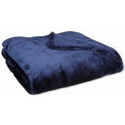 Queen Blanket Sumptuously Soft Plush Coral Fleece Mega Throw/Reversible Bedspread (Navy) By WPM, Blue