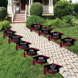 Maroon Grad - Best Is Yet To Come - Grad Cap Lawn Decorations - Outdoor Graduation Party Yard Decorations - 10 Pieces, Adult Unisex, Size: One Size,