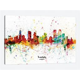 Denver Colorado Skyline Splash Canvas Print Wall Art By Michael Tompsett