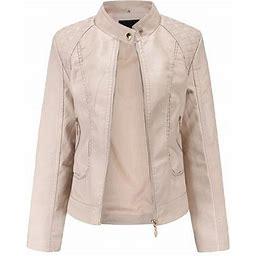 Womens PU Leather Motorcycle Zipper Jackets Coats Casual Plus Size Outerwear, Women's, Size: 2XL, Beige