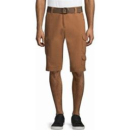 Lazer Men's Belted Ripstop Stacked Cargo Shorts, Brown