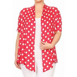 Moa Collection Plus Size Women's Trendy Style Polka Dot Print Cardigan, Size: 1XL, Red