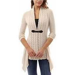 FreshLook Fashion Women Buckle Braid Front Cardigan Knitwear Warm Sweaters Autumn Long Sleeve Casual Slim Outwear, Women's, Size: Small, Beige