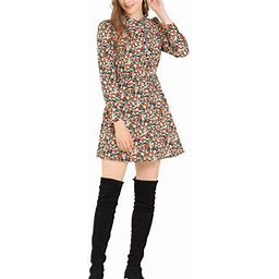 Allegra K Women's Button Half Placket Long Sleeve Mini Fit And Flare Floral Dresses, Size: XS, Black
