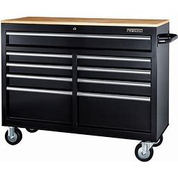 Yukon 46 In. 9-Drawer Mobile Storage Cabinet With Solid Wood Top, Black