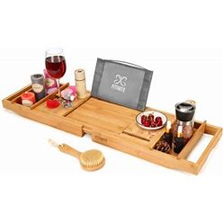 Fitnate Wooden Bathtub Tray Caddy With Wine Glass Slot, Phone Tray, Book Holder, & Candle Slot, Non-Slip & Durable, Luxury Bamboo Bathtub Tray With