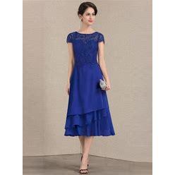 Jjshouse A-Line Scoop Neck Tea-Length Chiffon Lace Mother Of The Bride Dress