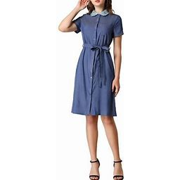 Allegra K Women's Pan Collar Button Down Belted Short Sleeve Denim Shirt Dress, Size: XS, Blue