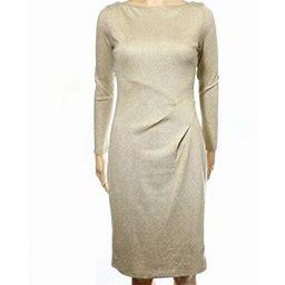Lauren Ralph Lauren New Gold Womens Size 0 Metallic Seamed Sheath Dress, Women's, Blue