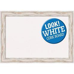Amanti Art Framed White Cork Board Extra Large, Alexandria White Wash Wood   DSW3979460