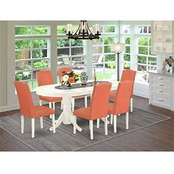 East West Furniture Vaen7-Lwh-78 7 Pc Dining Room Set Dining Table With Self Storing Butterfly Leaf And Six Parson Chair With Linen White Leg And Pu