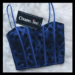 Choon Inc Tops | Boutique Cropped Bustier | Color: Black/Blue | Size: Xs