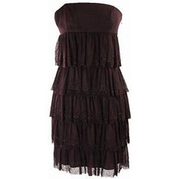Laundrybyssegal Laundry By Shelli Segal Brown Strapless Beaded Tiered Mesh Dress 10, Women's