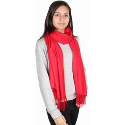 Gilbin's Womens Solid Color Large Extra Soft Cashmere Blend Pashmina Shawl Wrap Scarf, Women's, Red