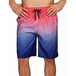 Hcgsss Men's Casual Elastic Waist Gradient Color Sporty Shorts, Size: Medium, Pink
