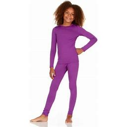Thermajane Girl's Ultra Soft Thermal Underwear Long Johns Set With Fleece Lined (Purple, Medium)