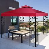 10' X 10' 2-Tier 3 Colors Patio Canopy Top Replacement Cover- Red