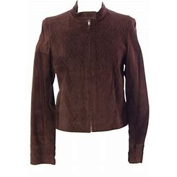 Luciano Abitboul Women's Criss-Cross Suede Jacket Sz Small Brown