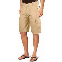 Ma Croix Men's Premium Multi Cargo Twill Cargo Shorts With Belt, Size: 32, Beige