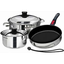 Magma Professional Series Gourmet Nesting 7-Piece Stainless Steel Induction Cookware Set With Ceramica Non-Stick