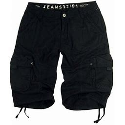 Stone Touch Jeans Stone Touch Men's Military Cargo Shorts 27s-BLK Sizes:30, Black