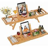 Rebrilliant Bathtub Tray Caddy Bamboo 2 In 1 Bath Tub Tray & Bed Tray Expandable Luxury W/ Legs, Wine Glass Holder, Tablet/Reading Stand, Phone Slot