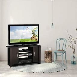 Furinno Econ Espresso TV Stand Entertainment Center For TVs Up To 46 Inch Size: 22.8 Inch H X 42.1 Inch W X 13.5 Inch Large, Brown