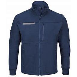 Bulwark Zip Front Fleece Jacket-Cotton /Spandex Blend Sez2 Navy 2XL, Men's, Blue