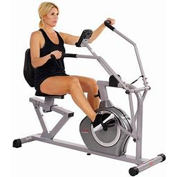 Sunny Health & Fitness Magnetic Recumbent Bike Exercise Bike, 350Lb High Weight Capacity, Cross Training, Arm Exercisers, Monitor, Pulse Rate