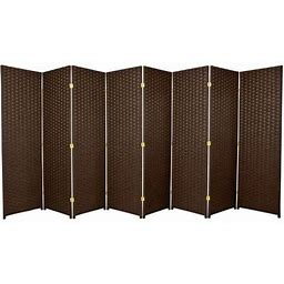 Legacy Decor Weave Design Fiber 8 Panel Room Divider, 71 Inch Tall, Brown Color