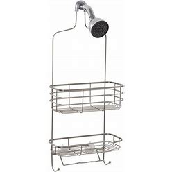 Stainless Steel Shower Caddy With 2 Shelves, Zenna Home Premium Over-The-Showerhead Size: 11 Inch W X 26.25 Inch H X 4 Inch D, Silver