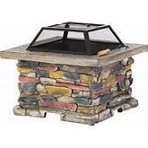 Corporal Natural Stone Square Fire Pit By Christopher Knight Home - Grey