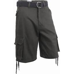 Hat And Beyond Men's Comfort Utility Multi Pockets Twill Cargo Shorts With Belt, Size: 44, Gray