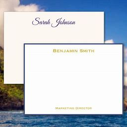 Personalized Stationery: Professional Personalized Flat Cards - Raised Ink Stationery