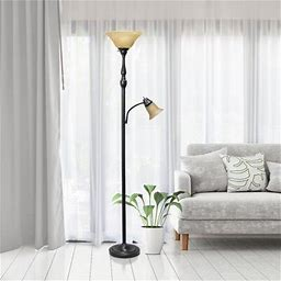 """Payson 71"""" Torchiere Floor Lamp Base Finish: Restoration Bronze, Shade Color: Amber"""
