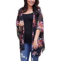 FreshLook Women's Floral Print Kimonos Loose Half Sleeve Shawl Chiffon Cardigan Blouses Casual Beach Cover Ups, Size: 2XL, Black
